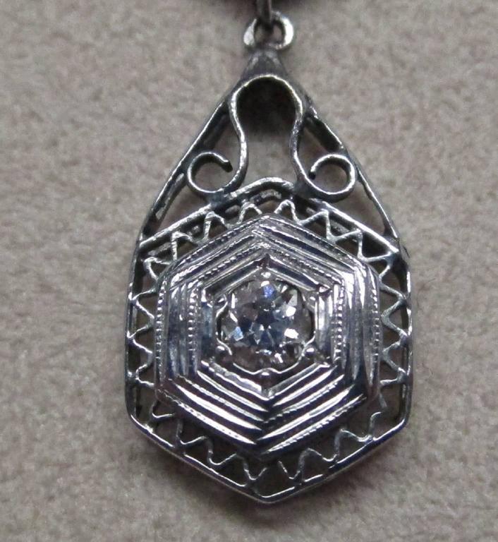 Art Deco Diamond Gold Necklace 5