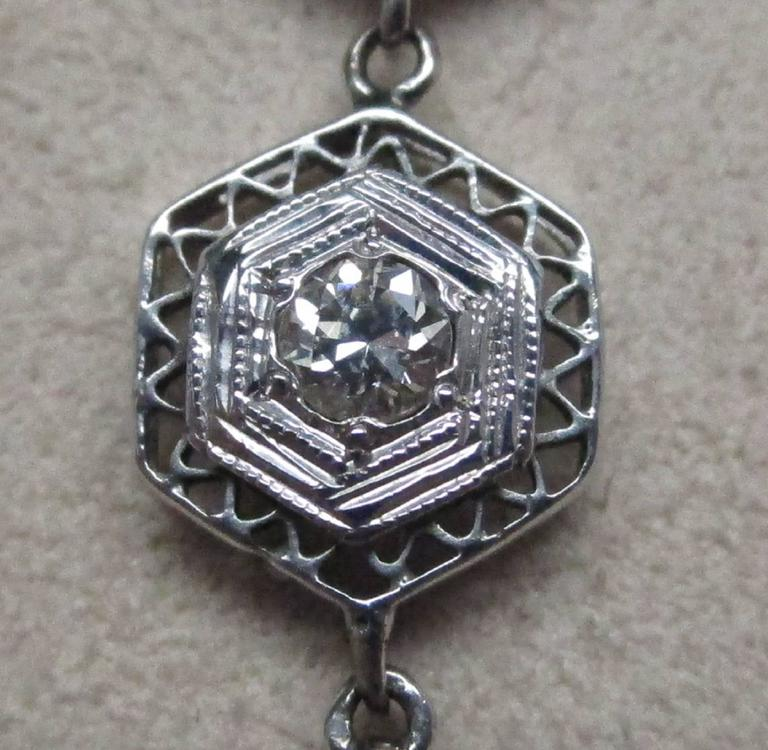Art Deco Diamond Gold Necklace 6