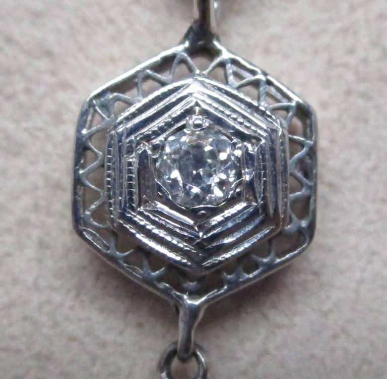 Art Deco Diamond Gold Necklace 7