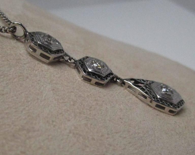 Art Deco Diamond Gold Necklace 4