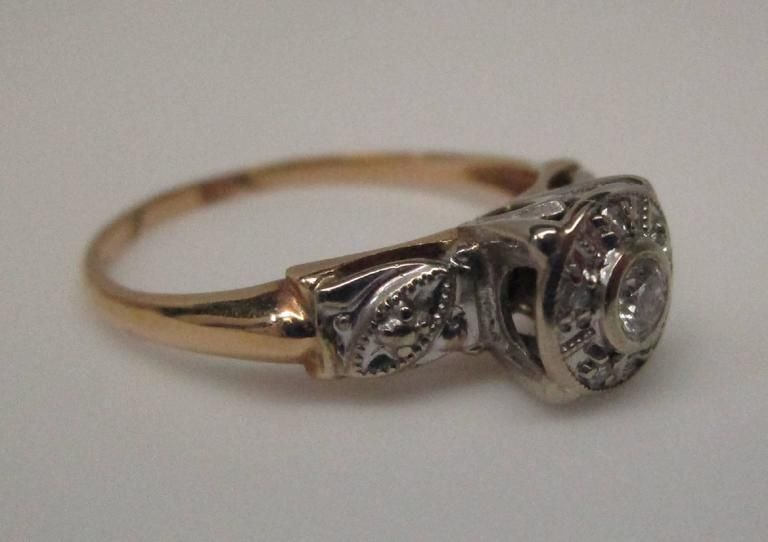 Contemporary Diamond Gold Engagement Ring For Sale