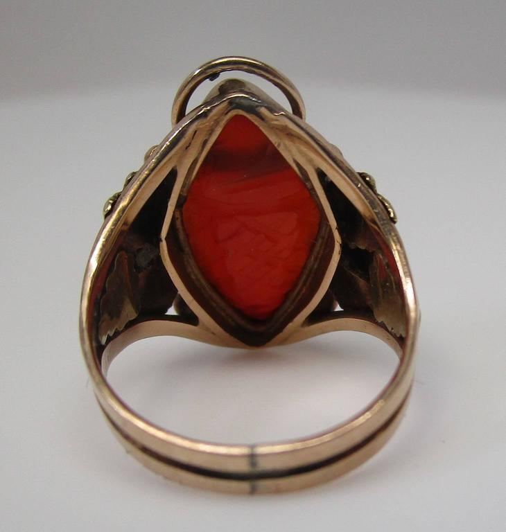 Arts and Crafts Carnelian Gold Ring In Excellent Condition For Sale In Lexington, KY