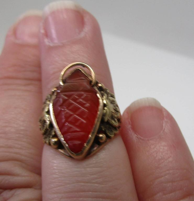 arts and crafts carnelian gold ring for sale at 1stdibs