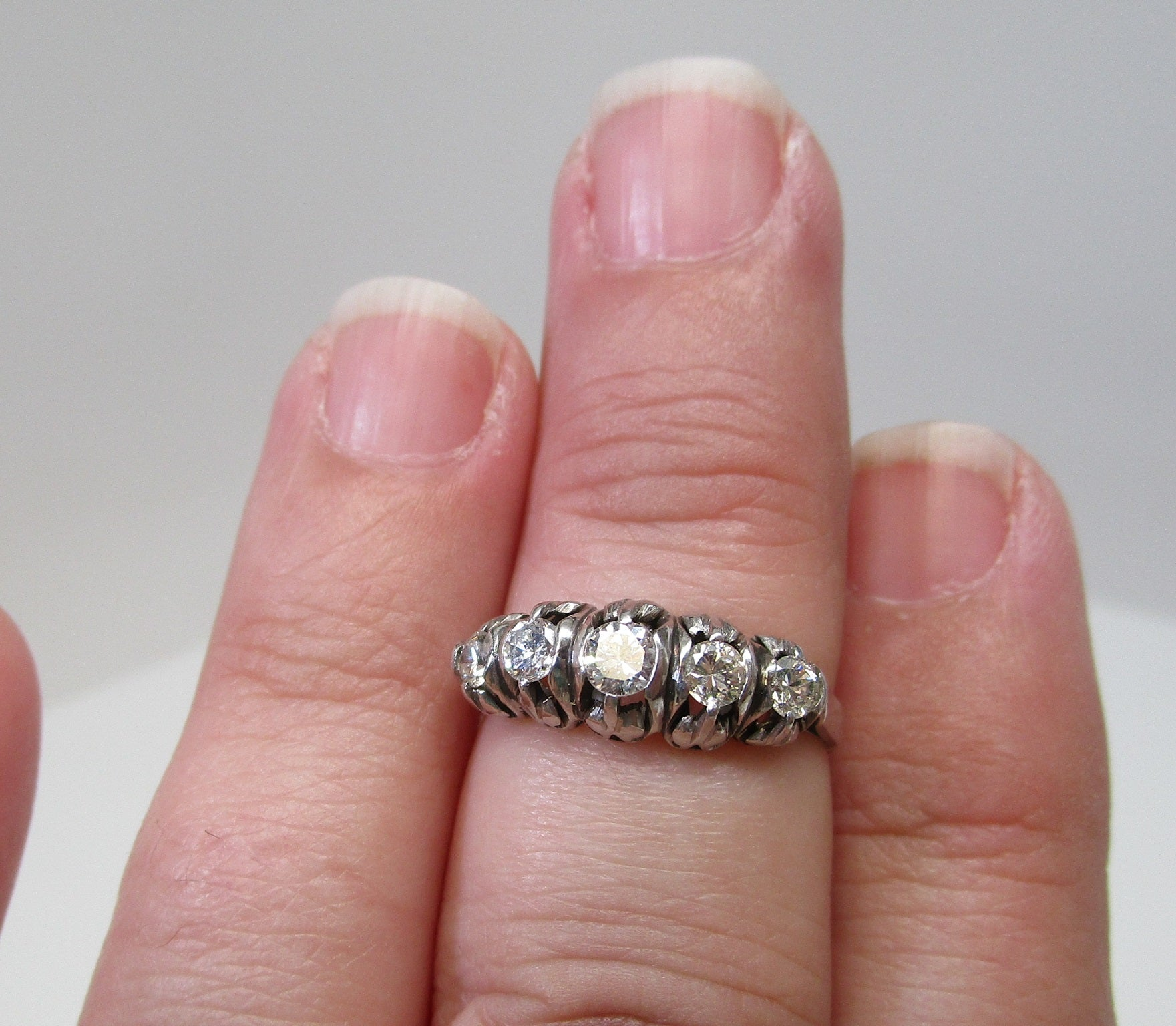 Diamond Platinum Ring, circa 1950 For Sale at 1stdibs