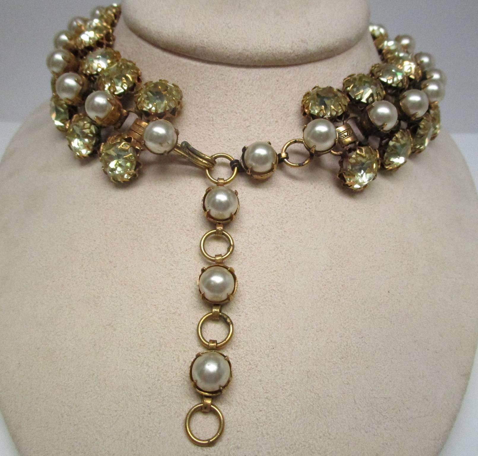 Art Deco Schreiner Deco Rhinestone Pearl Costume Choker Necklace For Sale & Schreiner Deco Rhinestone Pearl Costume Choker Necklace at 1stdibs