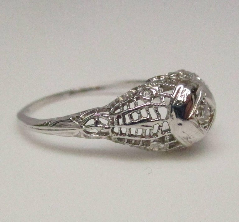deco filigree gold engagement ring for sale at 1stdibs