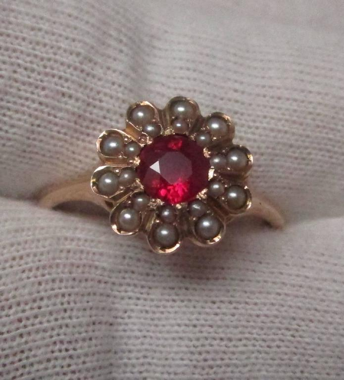 Seed Pearl Ruby Gold Ring 5