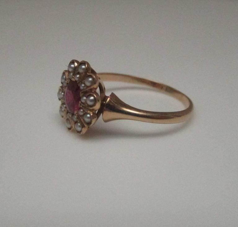 Seed Pearl Ruby Gold Ring 2