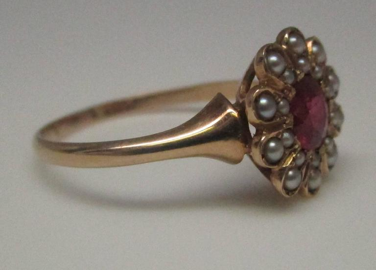 Seed Pearl Ruby Gold Ring 4