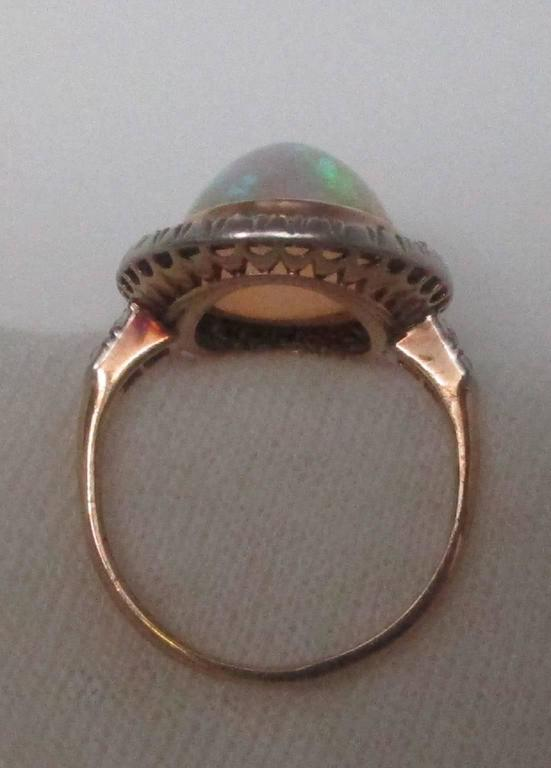 Women's Edwardian Opal Diamond Platinum over Gold Ring For Sale