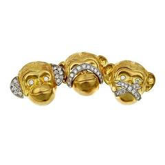 Prince John Landrum Bryant Diamond Gold Hear-See-Speak No Evil Brooch