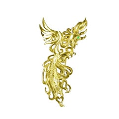 Cabochon Emerald 18 Karat Gold Phoenix Brooch or Pendant by John Landrum Bryant