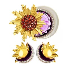 Sun and Moon Amethyst Brooch or Pendant and Matching Earrings