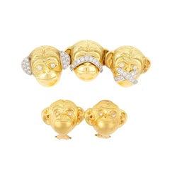 """Hear, See, Speak No Evil"" Brooch and Matching Monkey Head Diamond Earrings"