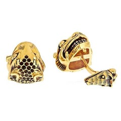 John Landrum Bryant: 18k Gold Platinum ANCIENT TIGER AND FAWN Cufflinks