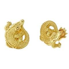 Curled Alligator Gold Cufflinks