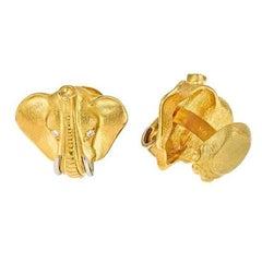 18k Gold Elephant Head Cufflinks with Platinum Tusks by John Landrum Bryant