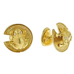 John Landrum Bryant: 18k Gold Diamond FROG AND WATER LILY LEAF Cufflinks