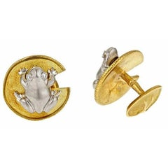 Frog and Water Lily Leaf Cufflinks Platinum