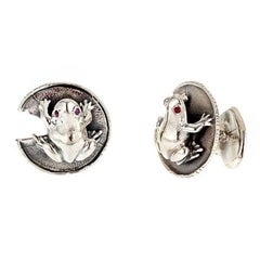 Frog and Water Lily Leaf Cufflinks Sterling Silver