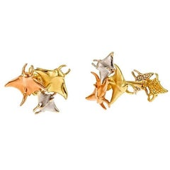 18k Yellow White and Rose Gold Manta Ray Cufflinks by John Landrum Bryant