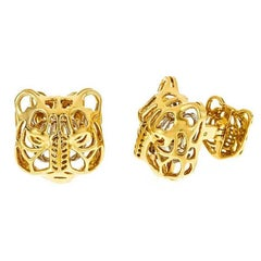 18k Yellow and White Gold MYSTICAL TIGER Cufflinks by John Landrum Bryant