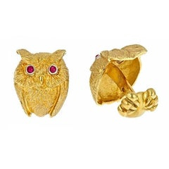 Owl Cufflinks Platinum