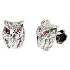 Sapphire Eyes Sterling Silver Owl Cufflinks by John Landrum Bryant