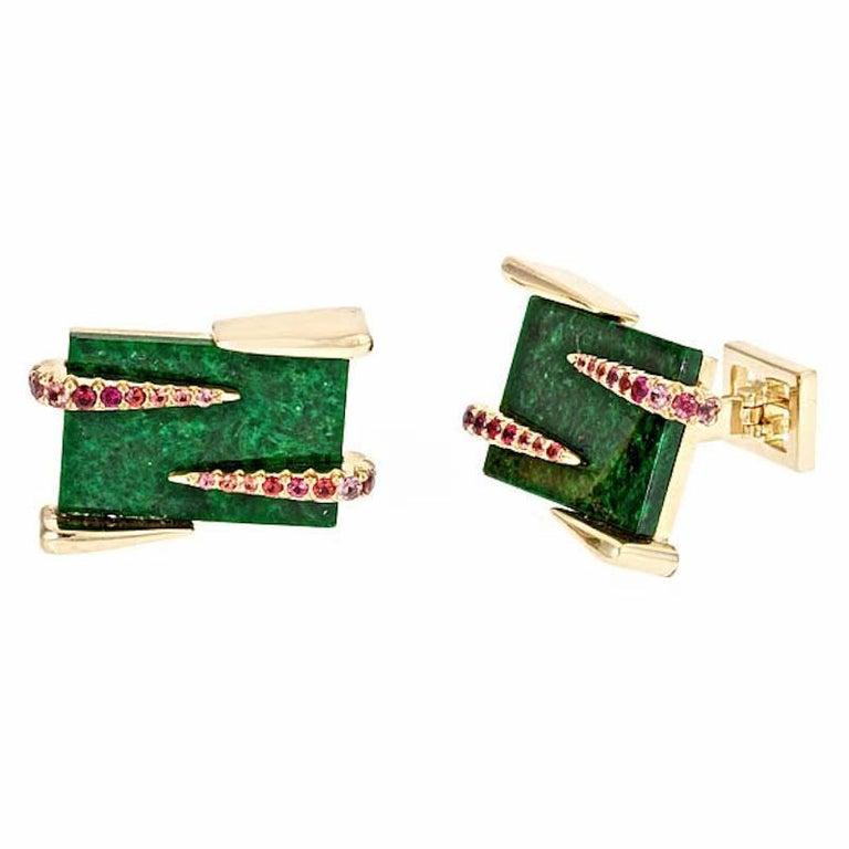 Sapphires and 18k Gold Rectangular Green Jade Cufflinks by John Landrum Bryant