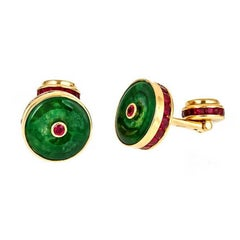 Round Green Jade Cufflinks