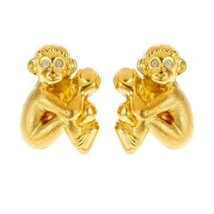 Seated Monkey Baby Cufflinks Gold with Diamonds