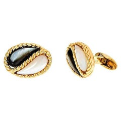 Mother of Pearl 18k Gold Yin-Yang Cufflinks by John Landrum Bryant