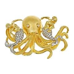 White Diamond 18k Three Friends Octopus and Mermaids Brooch John Landrum Bryant