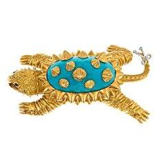 Turquoise and Platinum 18k Gold Alligator Turtle Brooch by John Landrum Bryant