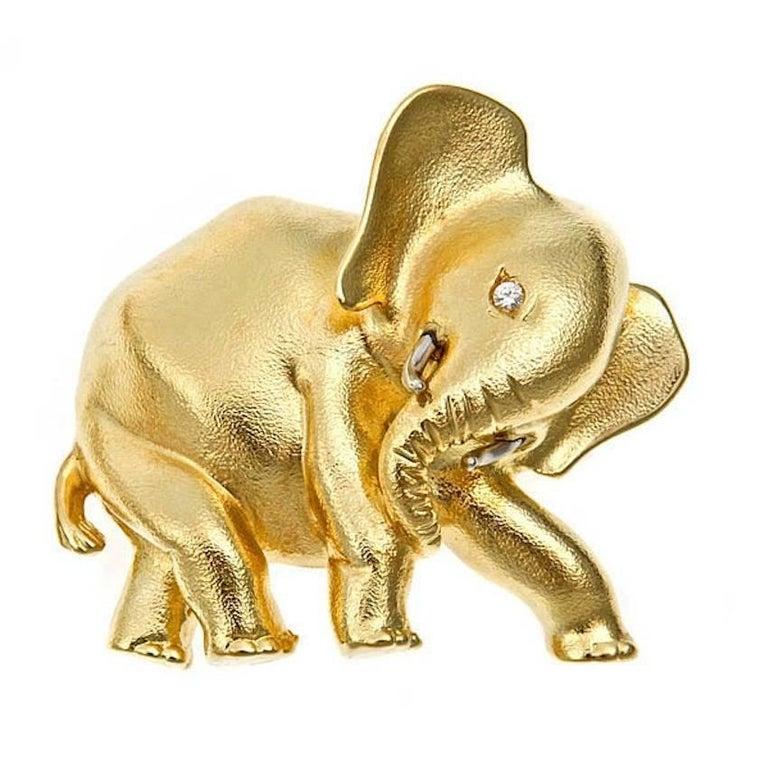 Diamonds 18k Yellow Gold Platinum BABY ELEPHANT'S MOTHER Pin John Landrum Bryant