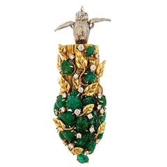 Diamond Emerald and Platinum 18k Cockatoo Emerging Brooch by John Landrum Bryant