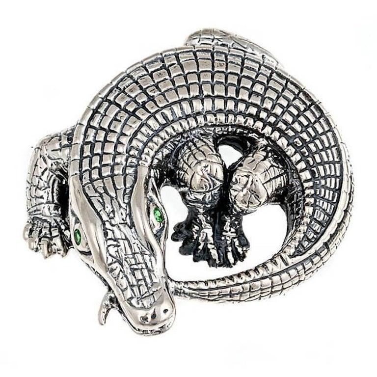 Tsavorites Sterling Silver Curled Alligator Brooch by John Landrum Bryant