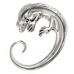 Sterling Silver with Rubies Iguana Brooch