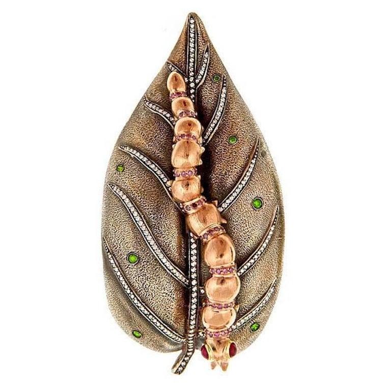 Diamond Ruby 18k Miss Chenille's MOONLIGHT STROLL Brooch by John Landrum Bryant For Sale