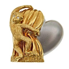 Diamond 18k Gold Monkey with Heart 'Love Revealed' Brooch by John Landrum Bryant