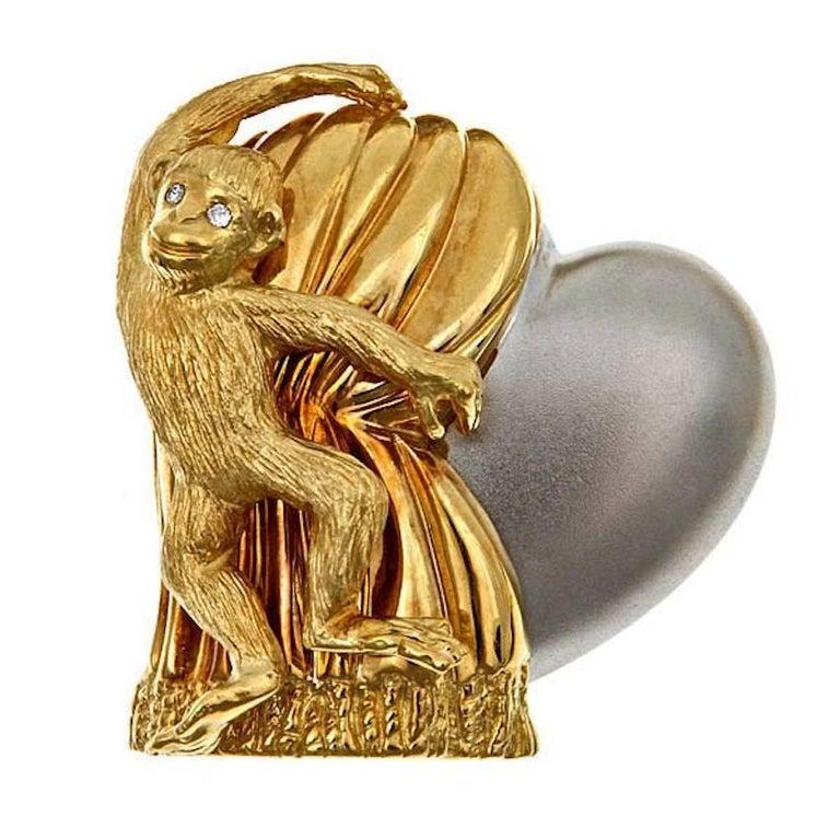 Diamond 18k Gold Monkey with Heart 'Love Revealed' Brooch by John Landrum Bryant