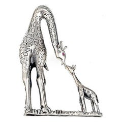 Ruby Sterling Silver Mother and Baby Giraffe Brooch John Landrum Bryant