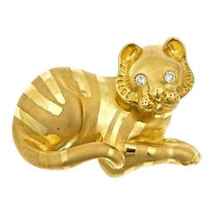 White Diamond 18k Yellow Gold MOTHER TIGER Brooch by John Landrum Bryant
