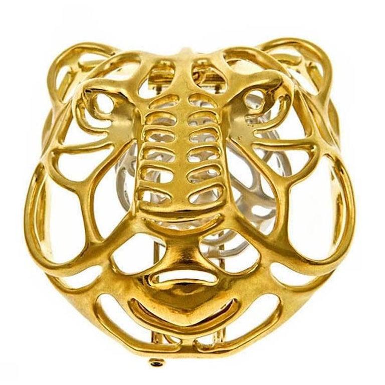 18 Karat Yellow and White Gold Mystical Tiger Brooch by John Landrum Bryant