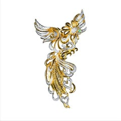Emerald Eyes 18 Karat Gold PHOENIX Brooch with Diamonds by John Landrum Bryant