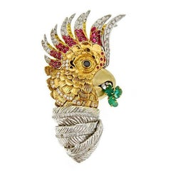 Sapphire Diamond 18 Karat Pretty Bird II Brooch by John Landrum Bryant