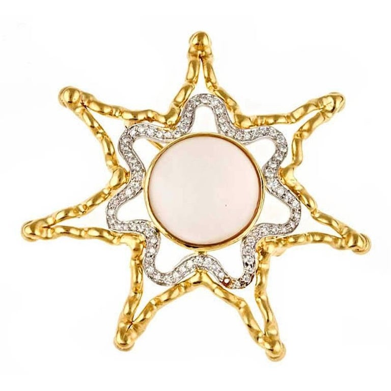 Diamond and Moostone 18k Gold Platinum Shy Star Brooch by John Landrum Bryant