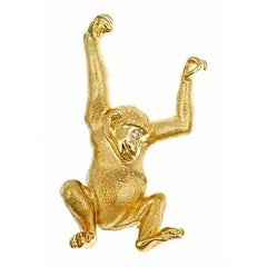 Diamond 18k Yellow Gold Swinging Monkey Brooch by John Landrum Bryant