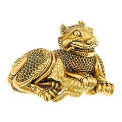 20k Special Alloyed Gold Tiger and Fawn Brooch/Pendant by John Landrum Bryant