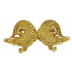 Diamond Eyes 18k Gold Two Alligators Pin/Pendant by John Landrum Bryant